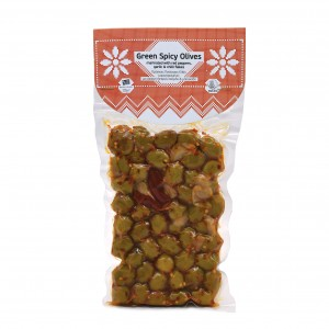 Green Spicy Olives marinated with red peppers, garlic & chilli flakes 250g